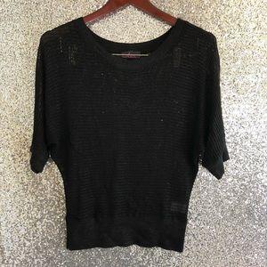 Takeout Black Knit Blouse—Size L